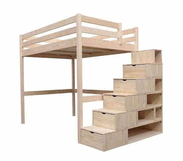 lit avec escalier cubes bois Sylvia