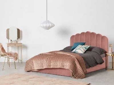 Prix lit coffre velours rose